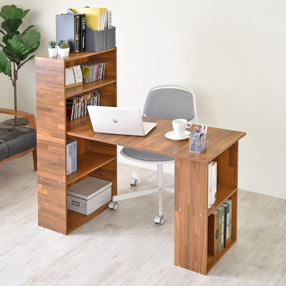《HOPMA》DIY巧收伍德4+2書櫃型書桌-寬120.5 x深50.5 x高120cm product image 1