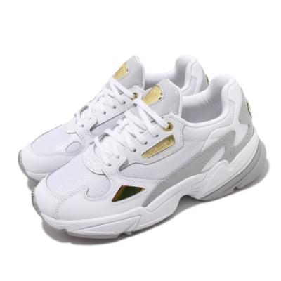 adidas 休閒鞋 Falcon 老爹鞋 厚底 女鞋 愛迪達 三葉草 金標 流行款 穿搭 白 金 FV5091