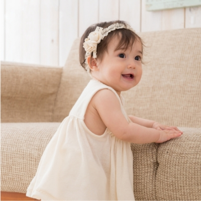 【Amorosa Mamma】有機棉蕾絲花朵女嬰兒童髮帶-迷你玫瑰
