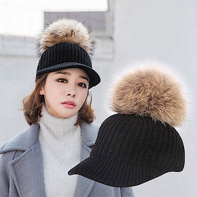 梨花HaNA 韓國冬季可愛QQ暖和針織獺兔毛球棒球帽