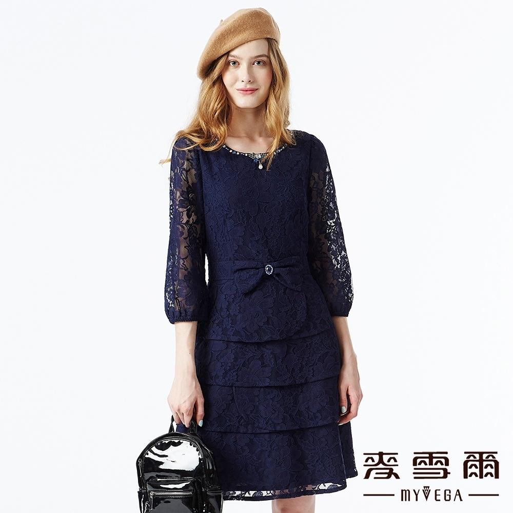 【麥雪爾】寶石領口鏤空蕾絲蛋糕洋裝