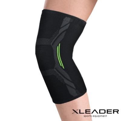 Leader X 3D彈力針織 透氣加壓運動護膝腿套 黑綠 1只入-急