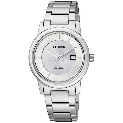 CITIZEN 簡約優雅光動能女錶(EW1560-57A) 銀/31mm