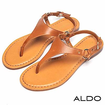 ALDO 原色牛皮T字金屬繫帶夾腳涼鞋~個性焦糖