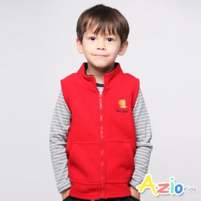 Azio Kids 男童 背心 恐龍刺繡搖粒絨口袋拉鍊背心 (紅)