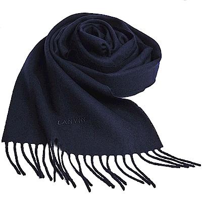 LANVIN 義大利製品牌字母LOGO刺 繡高質感羊毛圍巾(海軍藍)