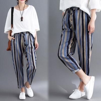 【韓國K.W.】賣瘋了俏皮條紋哈倫褲