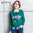 betty's貝蒂思 簡約圓領羅紋收邊毛衣(綠色)