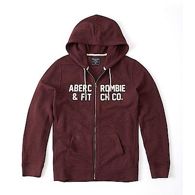 麋鹿 AF A&F 經典文字刺繡連帽外套-酒紅色