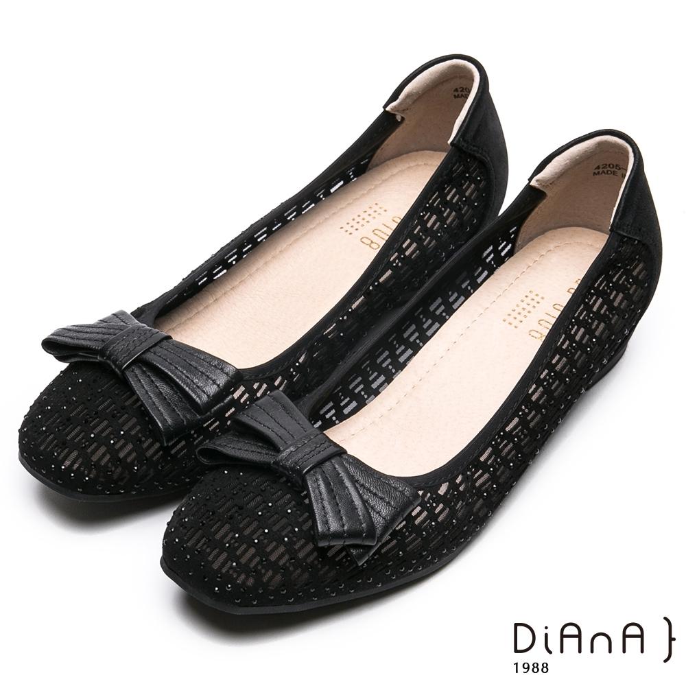 da0108蝴蝶結點綴沖孔鑽飾平底娃娃鞋-甜美可人-黑