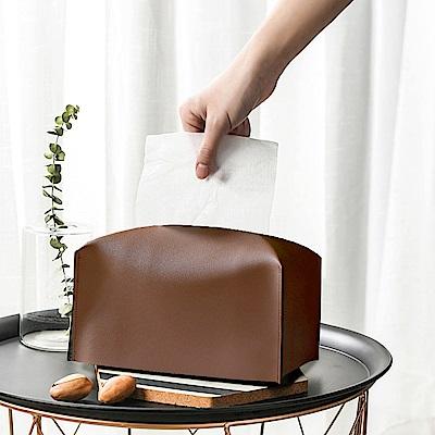 收納職人 北歐ins創意輕奢皮革面紙盒/收納袋(棕色)