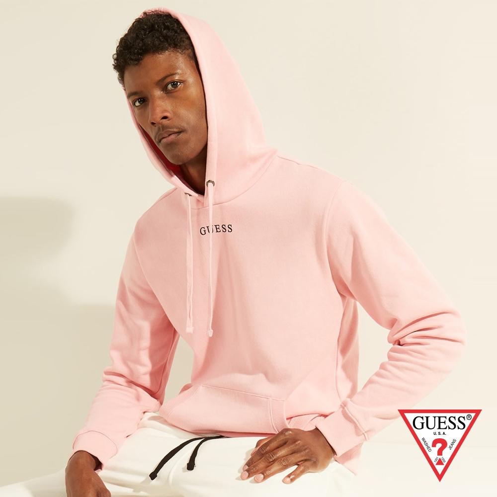 GUESS-男裝-純色簡約LOGO帽T-粉 原價2290