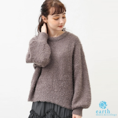 earth music 毛絨感蓬袖圓領針織上衣