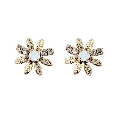 Prisme美國時尚飾品 花朵造型水鑽 金色耳環 耳針式