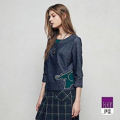 ILEY伊蕾 時尚墜鍊車繡寬版上衣魅力價商品(藍)
