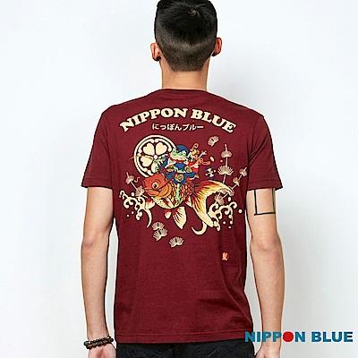 日本藍 BLUE WAY 青蛙與金魚趣味印花口袋TEE(紅)