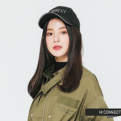 H:CONNECT 韓國品牌 -格紋滾邊logo棒球帽-黑