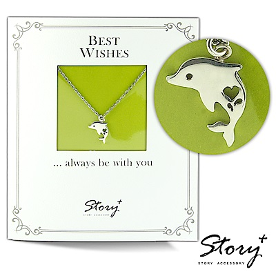 STORY ACCESSORY 祈福項鍊 卡片銀飾海豚款