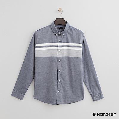 Hang Ten - 男裝 - 撞色排扣棉質襯衫 - 藍