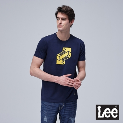 Lee短袖T恤 UR立體箭頭圓領 藍 男