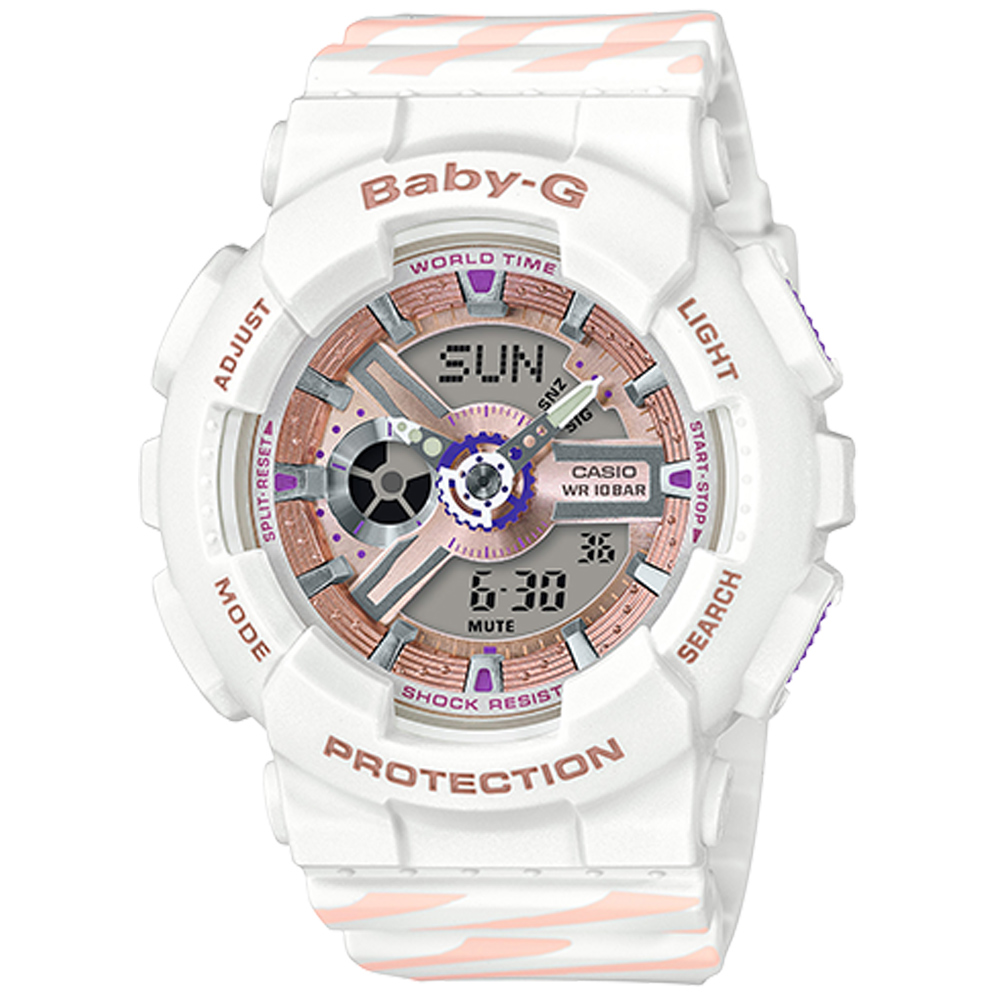 Baby-G Chance 彩繪線條運動腕錶(BA-110CH-7A)白/43.4mm