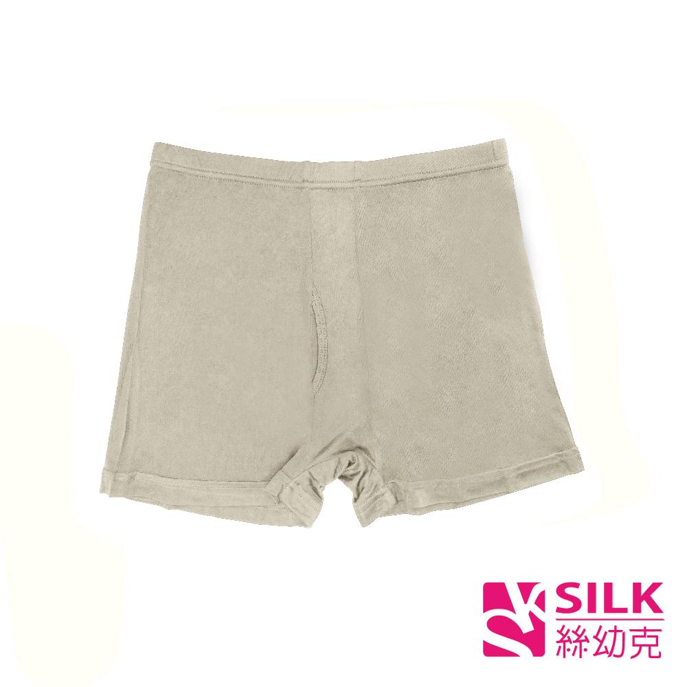 【SILK絲幼克】純蠶絲透氣素色男大尺碼四角平口褲