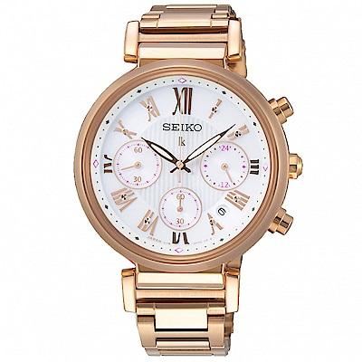 SEIKO精工 LUKIA晶鑽太陽能三眼計時手錶SSC834J1-玫瑰金/36mm