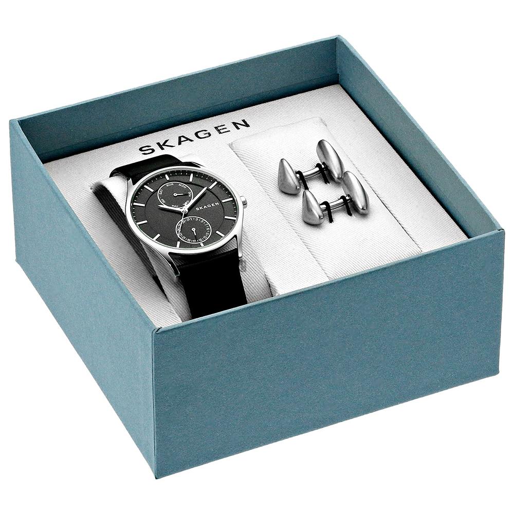 SKAGEN Holst 城市日曆時尚男套錶組(SKW1066)-黑/40mm