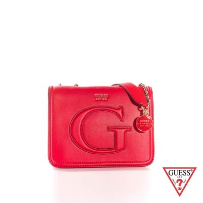GUESS-女包-素面大寫G鍊條方包-紅