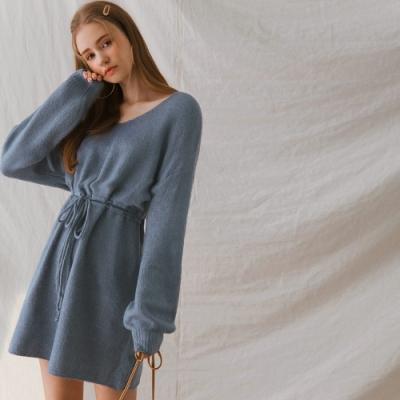 AIR SPACE LADY 質感雙抽繩綁帶毛衣短洋裝(藍)