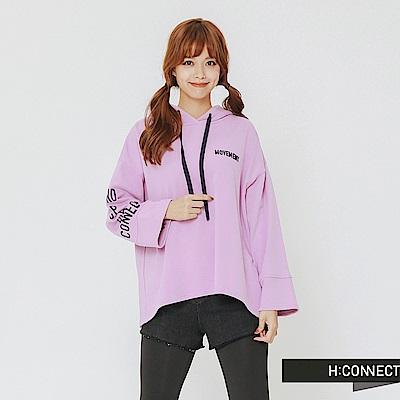 H:CONNECT 韓國品牌 女裝-隨性文字帽T-紫