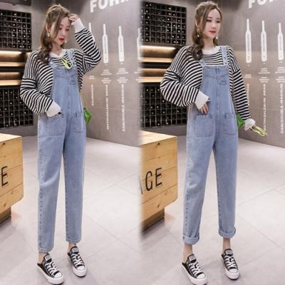 【韓國K.W.】(預購)自然色調繽紛連身牛仔吊帶褲-1色