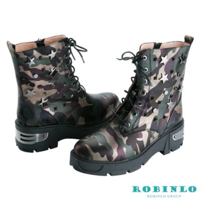 Robinlo 進口真皮迷彩粗跟中靴 綠色