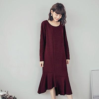 純色美背設計下襬不規則魚尾洋裝-OB大尺碼