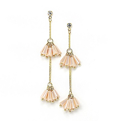 LOVER S TEMPO加拿大品牌 桃粉水晶珠流蘇鑲嵌鋯石 垂墜耳環