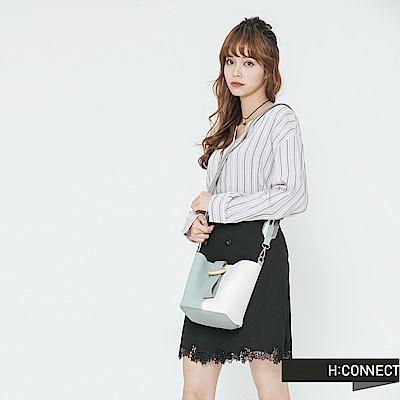 H:CONNECT 韓國品牌 -清新配色扣環水桶包