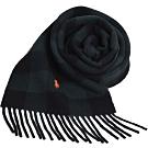 RALPH LAUREN POLO 小馬刺繡LOGO正方格格紋雙面配混羊毛圍巾(綠黑格/黑)