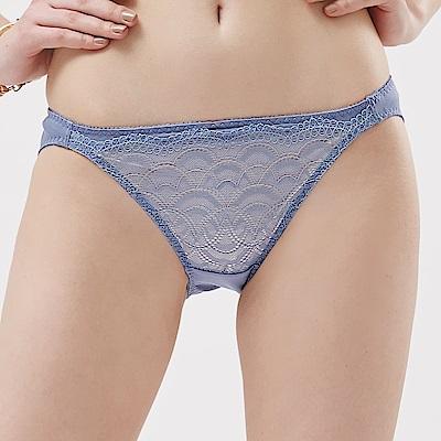 思薇爾 霓情舞漾系列M-XL蕾絲低腰三角內褲(夜藍莓)