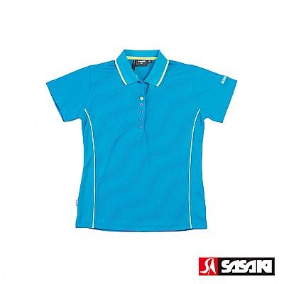 SASAKI 長效性吸排功能Polo休閒短衫-女-鮮藍/亮藍