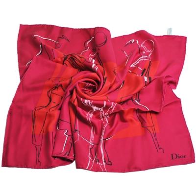 DIOR 義大利製品牌優雅仕女風格圖騰優雅100%絲質帕領巾(桃紅系)