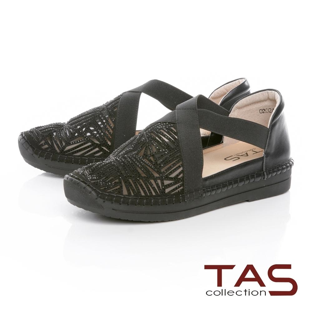 TAS透膚網布燙鑽拼接交叉繫帶涼鞋-百搭黑