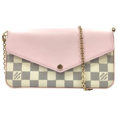 LV N60235 Pochette系列拼皮粉色鍊條手提/斜背包(白X粉色)