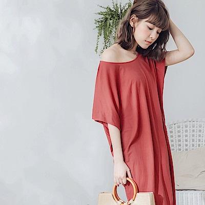 純色連袖寬鬆洋裝-OB大尺碼