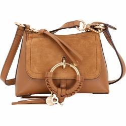 SEE BY CHLOE Joan 迷你款 棕色編織金屬環拼接皮革手提肩背包(展示品)