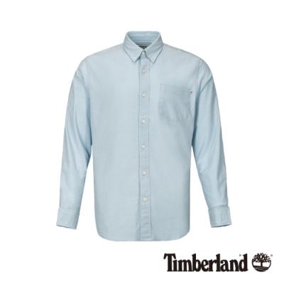 Timberland 男款天際藍彈力牛津長袖襯衫|A1WNK