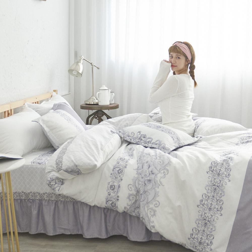 BUHO TENCEL天絲雙人加大五件式舖棉兩用被床罩組(遙思濃意)