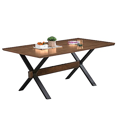 文創集 皮特時尚5.8尺木紋餐桌(不含餐椅)-175x85x75cm免組