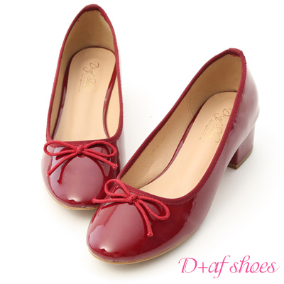D+AF 優雅焦點.漆皮低跟芭蕾娃娃鞋*紅