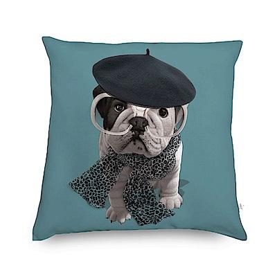 法國數位藝廊 狗狗抱枕/靠墊-貝雷帽(孔雀藍)-含芯60x60