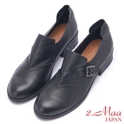 2.Maa 長腿比例牛皮飾釦跟鞋 - 黑